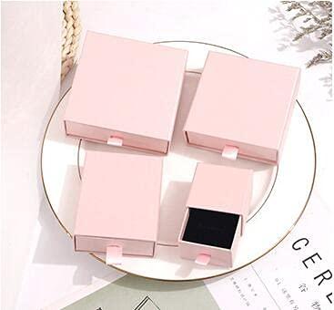 ZJF 50 Piezas de Oro en Relieve Personalizado y Plateado pequeña Caja de cartón cajón Caja de cartón Pendientes Personalizados Caja de joyería (Color : Soft Pink Boxes, Gift Bag Size : 50 Boxes)