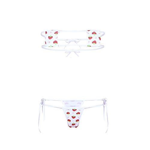 FEESHOW Damen Micro Bikini Set Bademode Sexy Mini Sling Shot Oberteil und String mit Erdbeeren Muster Dessous für Motto Party Strand Weiß_C One Size