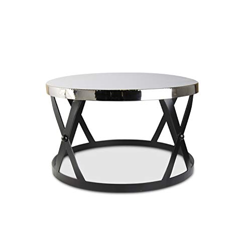 K&K Interiors 15790A-SI 17.75 Inch Black Metal Cross Bar Drum Table with Silver Hammered Top