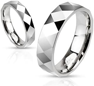 STR-0025 Stainless Steel Diamond-Cut Faceted Band Ring; Sold by Piece