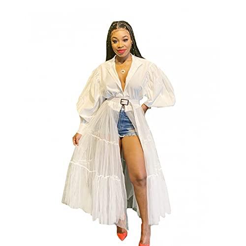 MWLSW Club Mesh Patchwork Blanco Sólido Vestido de Manga Larga Mujeres Otoño Moda Bata Camisa Vestidos Ropa de Fiesta-L