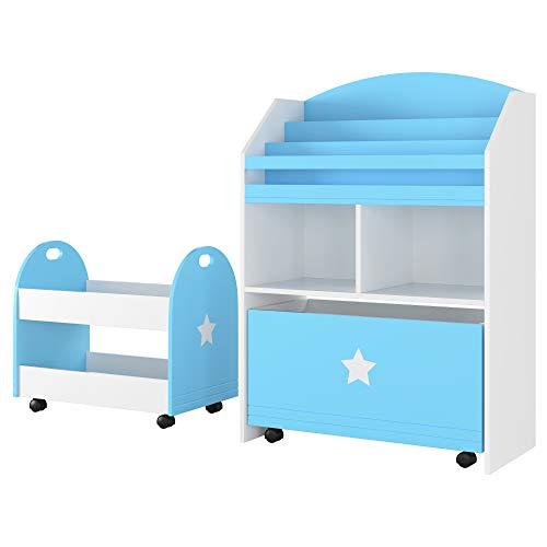 Homfa 2er Set Kinderregal Aufbewahrungsregal mit Schublade 2 fächern 3 Hängefächern Rollwagen Blau Weiß 60 x 30 x 86,5cm 49,5 x 30 x 44cm