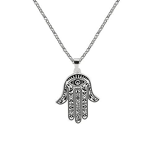 Hamsa Mano Mal De Ojo Colgante Collar Mujeres Acero Inoxidable Amuleto Gargantilla Cadena Religiosa Judía Hombres Joyería 52Cm