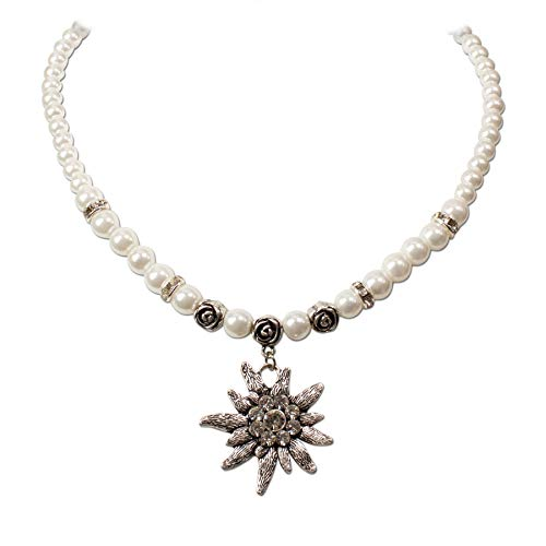 Heimatflüstern Trachtenkette Strass-Edelweiß & Perlen - Damen Perlenkette, Dirndlkette fürs Oktoberfest, Trachtenschmuck Kristallstein Edelweiss zur Trachtenbluse und Lederhose (Creme-weiß)