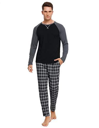 Hawiton Pigiami Uomo Lungo Set Pigiami Due Pezzi con 2 Tasca dei Pantaloni Lunghe Cotone...