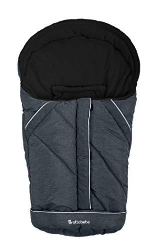 Altabebe AL2003P-01 Winterfußsack Alpin Kollektion für Babyschale, schwarz, grau