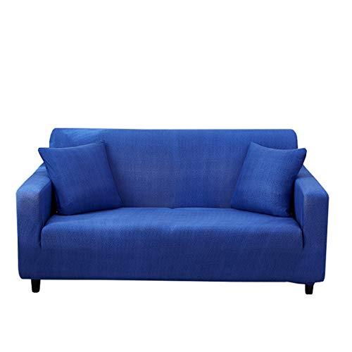 Copridivano elasticizzato a forma di L per divano ad angolo, antiscivolo, lavabile, con 1 protezione per divano a 2 posti (120 – 190 cm) (blu scuro)