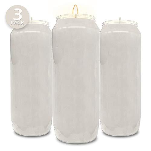 Velas de oración blancas de 9 días, paquete de 3 - Velas de 17,8 cm