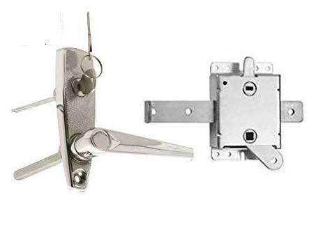Indus Hardware - Garage Door L-Handle Lock with Inside Slide Lock Latch Mechanism Set with Hardware Bag