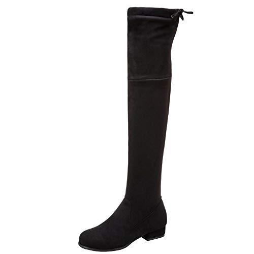 Zanpa Damen Mode Block Niedirg Absatz Overkneestiefel Pull On Slouch Stiefel Overknee Winter Shoes Soft Wildleder Black Gr 43