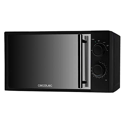 Cecotec Microondas All Black. 700 W de Potencia, Capacidad de 20 l, 6 niveles de Potencia, Temporizador 30 min, Modo Descongelar, Acabado en espejo