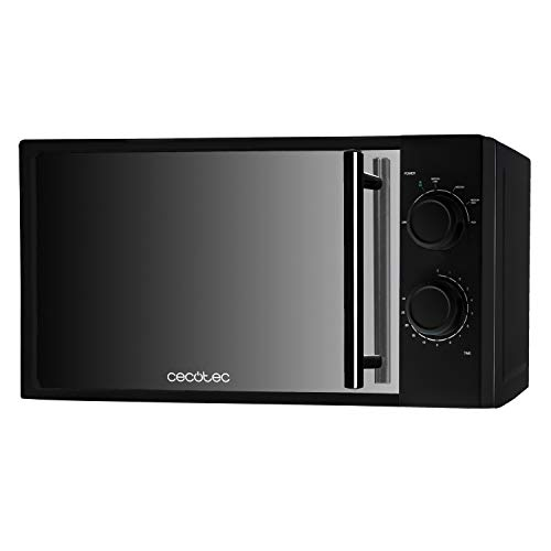Cecotec Mikrowelle AllBlack. 20 L Kapazität, 700 W Leistung, 6-stufiger Betrieb, 30-minütiger Timer, Auftaumodus, schwarze Oberfläche