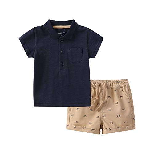 Baby Boys' 2Pcs Summer Clothing Set Toddler Short Sleeve Polos and Shorts Outfits (Ao Beige, 3 Months