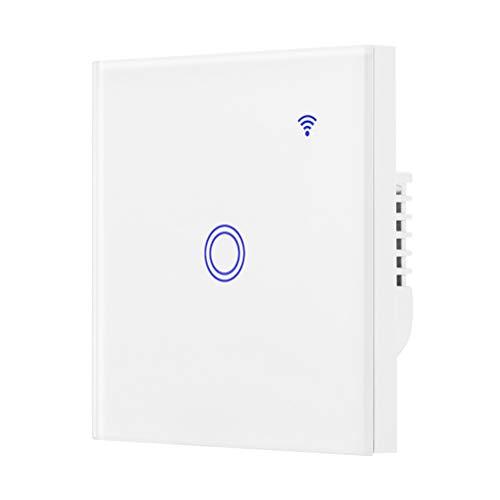 Mobestech - Interruptor táctil inalámbrico con WiFi-Smart-Touch, control por aplicación, interruptor de luz LED de pared, compatible con Alexa (1 velocidad)