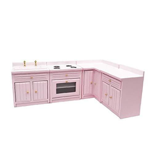 Canjerusof Dollhouse Miniature Kitchen Cabinet 1:12 Dollhouse Wooden Kitchen Furniture Doll House Kitchen Supplies Pink