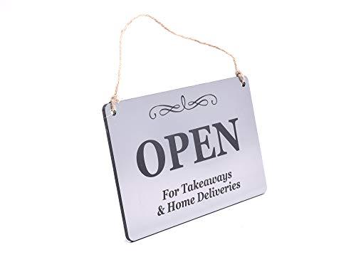Offen für Imbiss- und Heimlieferungen – Geschäft, Café, Restaurant, Tür, Fenster, Schild (Silber)