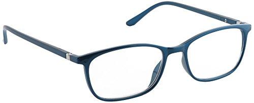 Pachladner elegante leeshulp met veerscharnier en metallic lak inclusief etui, blauw / 3 dioptrie,