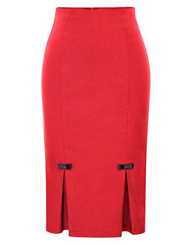 Belle Poque Plus Size Women's High Waist Skirt Stretch Bodycon Pencil Skirt 3XL BP587-3 Red