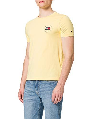 Tommy Hilfiger Circle Chest Corp tee Camiseta, Amarillo Delicado, L para Hombre