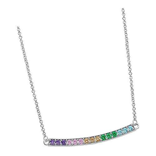 Lotus Silver Collar de rayas LP1963-1/3 con circonitas para mujer, plata 925 JLP1963-1-3
