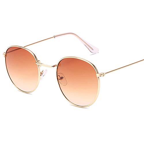 WQZYY&ASDCD Gafas de Sol Gafas De Sol Redondas De Montura Pequeña para Mujeres/Hombres Gafas De Sol De Espejo De Aleación Retro-Gold_Gradient_Tea