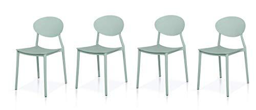 Fashion Commerce Set di 4 sedie Minimal Polipropilene Grigio, Set 4 unità