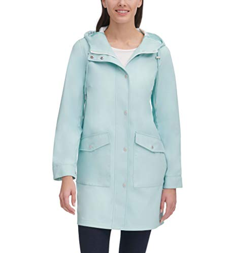 Womens Lightweight Rubberized Rain Resort Blue Parka Jacket