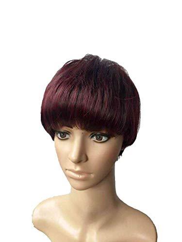 pruiken Pruik kort steil haar kap zwart en rood gemengde pruik