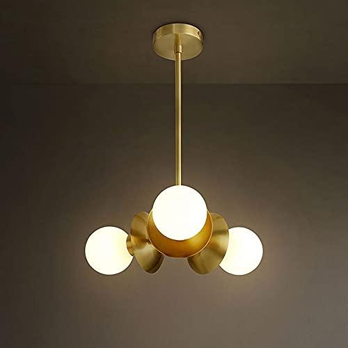 NAMFHZW Lámpara colgante moderna con pantalla de vidrio E27 Lámpara colgante de techo de latón de 3 luces Lámpara colgante enchufable Lámpara colgante de cable ajustable Luminaria Cocina Sala de reuni