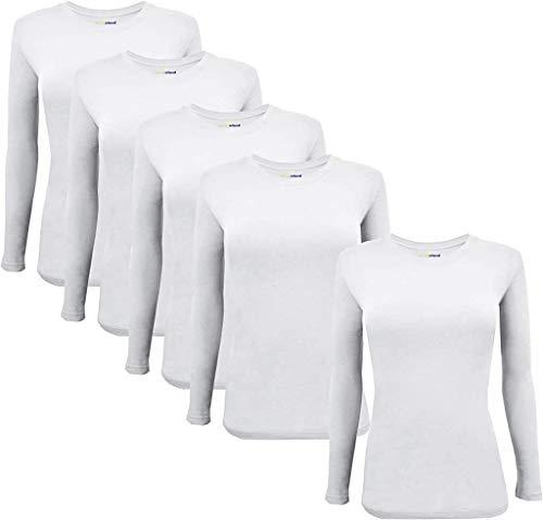 Natural Uniforms Women's Under Scrub Tee Crew Neck Long Sleeve T-Shirt 5-Multi Pack (Large, 5 Pack- White)