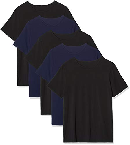 Marca Amazon - MERAKI Calzoncillo Corto de Algodón Hombre, Pack de 5, Multicolor (Black/Navy), XL, Label: XL