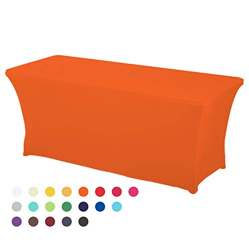 HAORUI Spandex Stretch Lycra Table de 183cm Couverture de Tissu rectangulaire Table à chevalets Banquet de Mariage(183×76×76cm Orange)