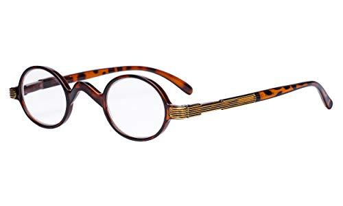 Eyekepper Small Oval Round Reading Glasses Vintage Mini Reader Eyeglasses for Men Women Reading with Spring Hinges Tortoise Frame +1.50