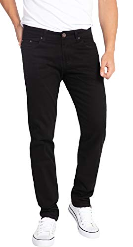 WULFUL Men's Skinny Slim Fit Stretch Straight Leg Jeans/Black/28Wx31L