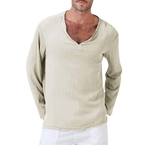 Camiseta Hombre Hombre Ropa Yoga Tops Blusa Hombre para Camiseta Manga Larga Mode De Marca Algodón Lino Tailandés Hippie Camisa, Cuello En V Hombres Camiseta Tops (Color : Khaki, Size : XL)