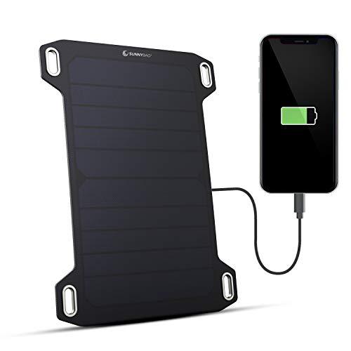 SUNNYBAG Leaf Mini | Solar Ladegerät mit 5 Watt Leistung | Unterwegs Handy Laden mit Solar Panels | Ultra-leicht, kompakt und wasserfest | nur 158g | USB solar Charger für Wandern, Camping, Outdoor
