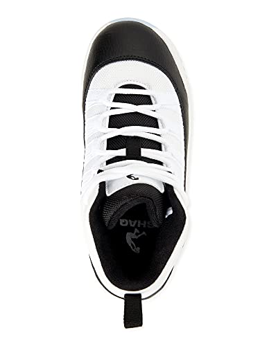 Shaq Ice Retro Basketball Athletic Sneaker Big Boys in White Black (Numeric_1)
