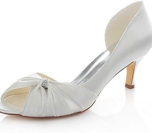 BGYHU Ggx femme Chaussures stretch satiné Stiletto Talon talons Peep Toe Sandales talons Mariage fête & Soir robe Ivoire