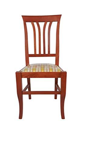 Sedia Victoria, in Legno Massello, Varie Sedute e Colori, Ordine Minimo 2 Pezzi (Ciliegio, Imbottita Gialla)