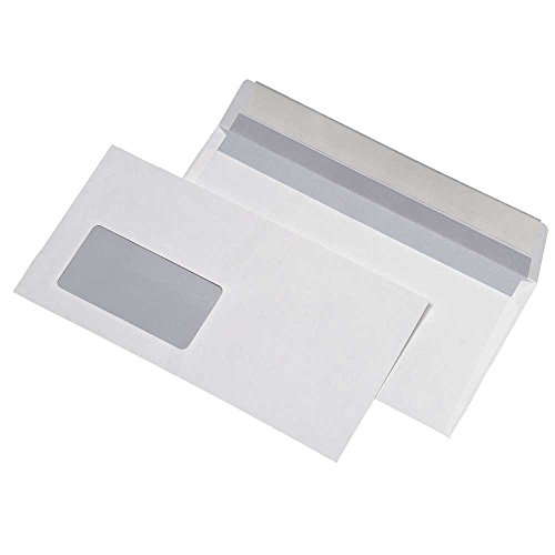 1000 Briefumschläge DIN Lang 110 x 220 mm mit Fenster haftklebend 80g/m² HK weiss dimapax