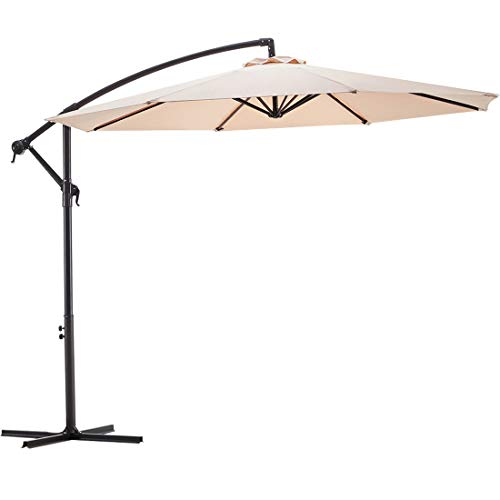Wikiwiki Offset Umbrella 10ft Cantilever Patio Umbrella Hanging Market Umbrella Outdoor Umbrellas with Crank & Cross Base (Beige)