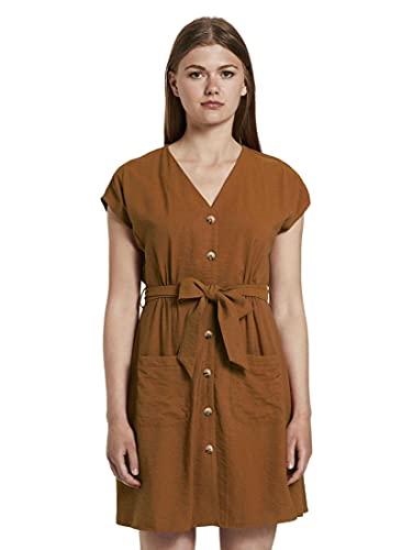 TOM TAILOR Denim Damen Kleider & Jumpsuits Kleid im Utility-Stil Mango Brown,XS,22110,8000