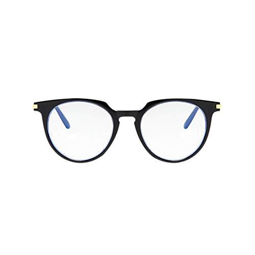 Meijunter Ovaal Omrand Anti UV Verblinding Bril - Blauw Licht Filter Computer Spel Brillen Lichtgewicht Retro Mannen Dames Doorzichtig Lens Eyeglasses (Helder Zwart)