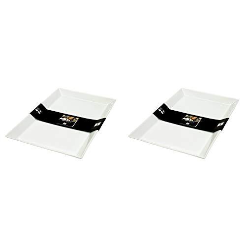 ASA Selection 52145/017 250° Poletto Servierplatte, Teller rechteckig, 39,5 x 26 x 3 cm, weiß (2 Stück)