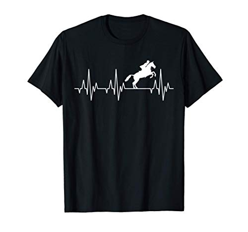 Battito Cardiaco Equitazione Equestre salto ostacoli Cavallo Maglietta