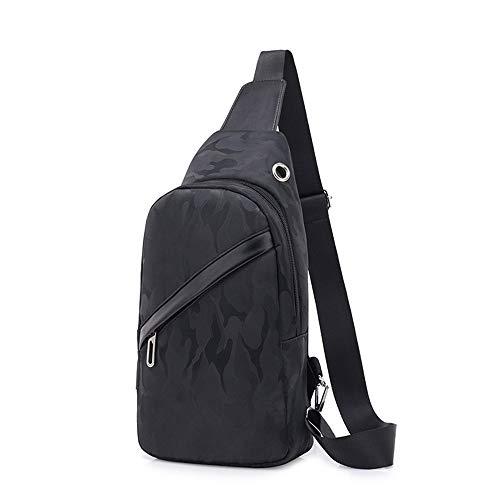 Sling Bag con porta di ricarica USB, da uomo, a tracolla, multifunzione, da viaggio, campeggio, escursionismo, ciclismo, sport, (Mimetico), 35 EU