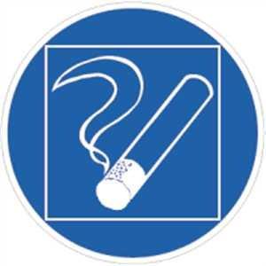 Aufkleber Rauchen innerhalb des begrenzten Raumes gestattet, Folie selbstklebend 10cm Ø (Raucherbereich, Raucherzone) praxisbewährt, wetterfest