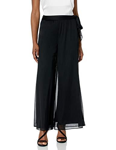 Alex Evenings Women's Wide Leg Dress Pant (Petite Regular Plus Sizes), Black Side Tie, XLP