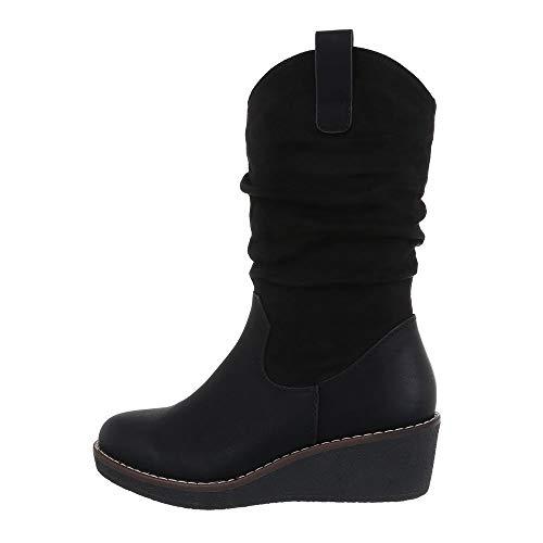 Ital-Design Damenschuhe Stiefel Keilstiefel Synthetik Schwarz Gr. 38 | Schuhe > Stiefel > Keilstiefel | Ital-Design