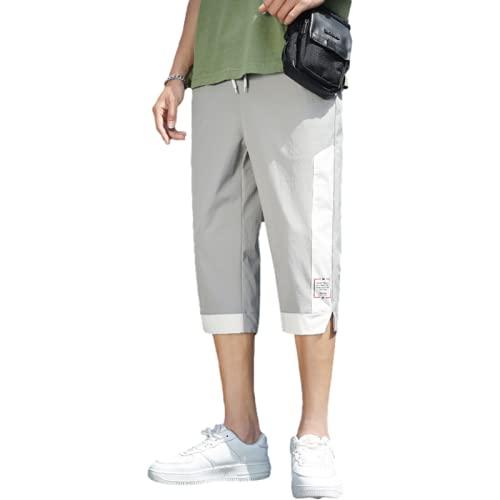 Pantalones Cortos Deportivos para Hombre Pantalones Deportivos Sueltos con múltiples Bolsillos a la Moda Pantalones Casuales de Verano con cordón y Cintura elástica para Todo fósforo 3XL
